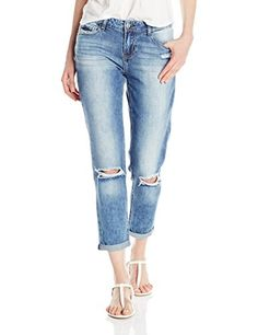 51c3166e20e03b Kensie Jeans Women s Double-Cuff Destructred Boyfriend Jean