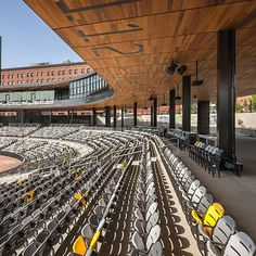 Beautiful custom coated cedar for the ceiling of this ball field stadium! This unique application is enough to take your breath away. Cedar Paneling, Ceiling, Architecture, Unique, Inspiration, Beautiful, Arquitetura, Biblical Inspiration, Architecture Design