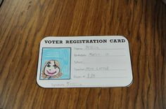 "Very cute lesson for voting! Voter registration cards, voting ballots, students create a small sign to get others to vote for the ""best book"" according to them, voting chart and ending with a writing activity! Social Studies Classroom, Social Studies Activities, Teaching Social Studies, Fun Activities, Teaching Tools, Teaching Ideas, School Holidays, School Fun, School Stuff"