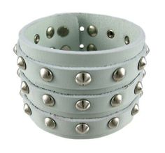 Zeckos Gray Leather 3 Row Cone Spiked Wristband Blemished for sale online Bracelets For Men, Bangle Bracelets, Beard Grooming Kits, Leather Wristbands, Leather Gifts, Adjustable Bracelet, Bracelet Sizes, American Jewelry, Chrome Plating