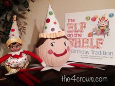 Pumpkin Book Character Project: Birthday Elf on the Shelf- The 4-Crows Blog http://www.the4crows.com/2014/10/pumpkin-book-character-project-birthday.html #book #pumpkin #bookcharacterpumpkin