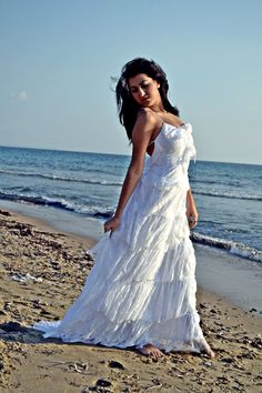 White Lace Bohemian Wedding Dress / Bridal by SuzannaMDesigns, €608.58