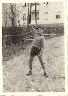 vintage pic: little boy hula hooping