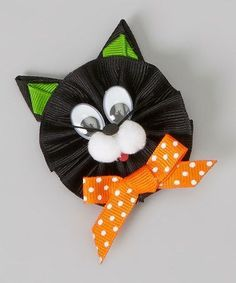 Take a look at this Black Cat Clip by Picture Perfect Hair Bows on catsdiyaccessories Ribbon Art, Diy Ribbon, Ribbon Crafts, Ribbon Bows, Hair Ribbons, Diy Hair Bows, Diy Bow, Halloween Hair Bows, Ribbon Sculpture