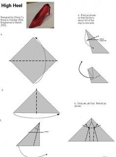High-heeled shoes origami tutorial | Xinblog