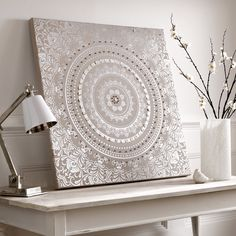 Bring elegance into your home with this beautiful cocoon fabric canvas. The beautiful muted color palette embellished with high shine silver metallic catches the light beautifully. This unique canvas is delicately finished off with button and bead em Mandala Draw, Mandala Painting, Dot Painting, Art Mural Tissu, Tapete Beige, Reproductions Murales, Fabric Wall Art, Wall Art Pictures, Home Wall Art