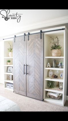 cool bookcase wall with sliding barn doors furniture storage DIY Sliding Barn Door Console Diy Barn Door, Sliding Barn Door Hardware, Diy Wardrobe Sliding Doors, Diy Door, Door Hinges, Door Latches, Door Brackets, Sliding Wall, Hanging Door Hardware