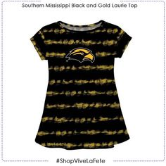 Let them enjoy on game day in this Southern Mississippi Tie Dye Black and Gold Laurie Top SS An officially Licensed product from Vive La Fete Collegiate Scoop neck Swing style Southern Miss Golden Eagles, Mississippi, Tie Dye, Scoop Neck, Game, Black, Tops, Dresses, Style