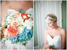 beautiful bouquet with pink, white and blue by barbm