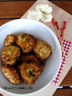 Κουνουπιδοκεφτέδες Dessert Recipes, Desserts, Meat Recipes, Cauliflower, Chicken, Vegetables, Cooking, Food, Kitchens