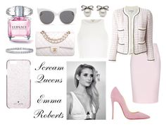 """""""scream queens style- emma roberts"""" by miaferreiras2 ❤ liked on Polyvore featuring Chanel, Christian Louboutin, Beautiful People, River Island, Finders Keepers, Blanc & Eclare, BERRICLE, Kate Spade, emmaroberts and ScreamQueens"""
