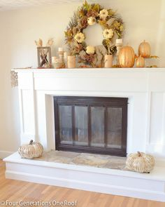 How we took our 1970's fireplace and updated it with a wooden surround creating a stylish modern fireplace. Four Generations One Roof #homeimprovement #diy #fireplace