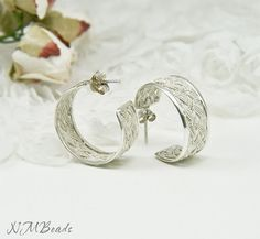 980K Silver Basket  Weave  Braided Hoop Stud Earrings by NMBeadsJewelry