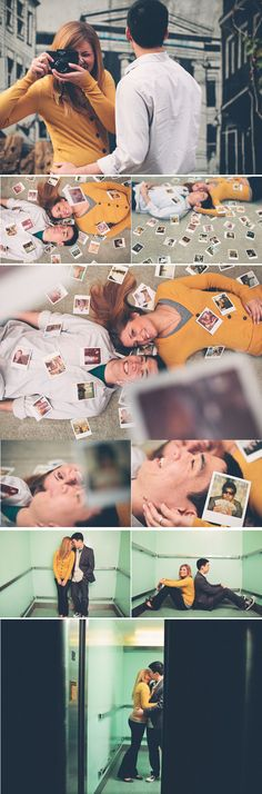 love the use of Polaroids in this engagement shoot