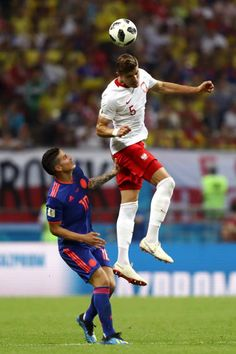 Jan Bednarek of Poland wins a header over James Rodriguez of Colombia during the 2018 FIFA World Cup Russia group H match between Poland and Colombia. World Cup 2018, Fifa World Cup, James Rodriguez, Header, Poland, Ms, Soccer, Football, Group