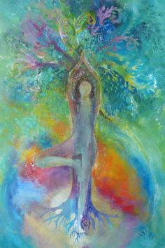 Yoga Tree-Woman  12 x 16  Print on Canvas  by BarabajagalARTS
