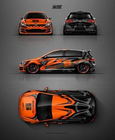 VW Golf GTI Clubsport grafisch ontwerp in oranje en grijs. Volkswagen Amarok, Volkswagen Golf, Golf 7 Gti, Bmw Autos, Car Colors, Vw Cars, Orange Grey, Rally Car, Car Wrap