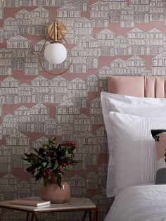 Tette klynger av hus i en leken strek. Morsomt på soverom. Art Deco, Home, Art Decor