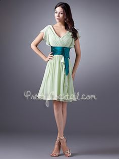 Sage A-Line Chiffon Knee Length V-Neck With Sleeves Cocktail Dress - US$89.99 - Style PCK7091 - Pretty Cocktail