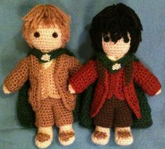 From Lord of the Rings, Sam Gamgee and Frodo Baggins - amigurumi. Soooo geeking out