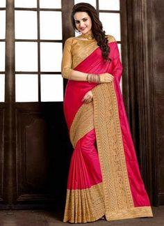 Magenta Embroidery Work Fancy Silk Designer Fancy Wedding Sarees    #Wedding #Bridal #designer #Saree       http://www.angelnx.com/Sarees