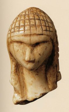 """""""Venus of Brassempouy""""  --  27,000-25,000 BCE --  Upper Paleolithic Era  --  Fragmentary, Ivory (mammoth tusk) figurine discovered in a cave near Brassempouy, France in 1892.  The earliest known realistically-fashioned image of a woman.  Belonging to Musée d'Archaologie Nationale @ Saint Germaine-en-Laye"""