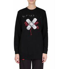 Au jour le jour Cotton sweatshirt ($411) ❤ liked on Polyvore featuring tops, hoodies, sweatshirts, nero, embroidered cotton top, crewneck sweatshirt, long sleeve cotton tops, cotton sweatshirt and oversized crew neck sweatshirt