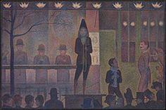Georges Seurat La parata del circo  olio su tela, 100 x 150 cm, 1888, Metropolitan M., New York.- Wikipedia