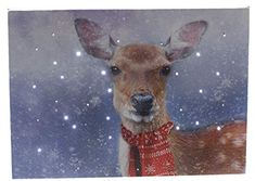 Oak Street Winter Deer LED Art Tabletop Canvas Light up Picture 6 Hour Timer Light Up Pictures, Light Up Canvas, Southern Living Christmas, Oak Street, Living Styles, Red Scarves, Winter Scenes, Picture Wall, Tabletop