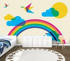 Gökkuşağının rengarenk enerjisi çocuklarınıza da yansısın... Gökkuşağı duvar kağıdı