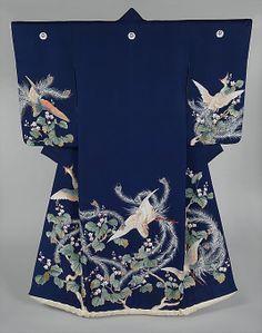 Silk 'uchikake' (wedding over-kimono), Meiji period, 19th century, Japan.  Yuzen-dyeing on silk.  MET Museum. (Gift of Abby Aldrich Rockefeller, 1937)