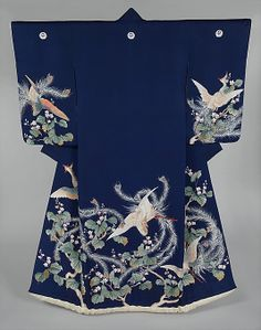 Silk 'uchikake' (wedding over-kimono), Meiji period, 19th century, Japan.  Yuzen-dyeing on silk.  MET Museum. (Gift of Abby Aldrich Rockefeller, 1937)