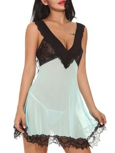 Plunging Neck See-through Babydoll - GREEN XL