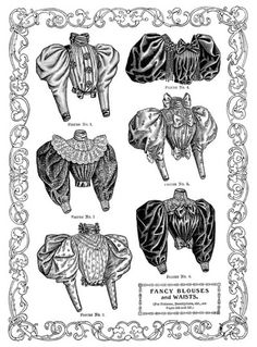 from the April 1895 issue of The Delineator magazine Victorian fashion, antique ladies blouse, 1895 woman's clothing, vintage shirt clip art, black and white fashion clipart Victorian Era Fashion, Victorian Blouse, Vintage Fashion, 1800s Fashion, Fashion Design Drawings, Fashion Sketches, Historical Costume, Historical Clothing, Fashion History