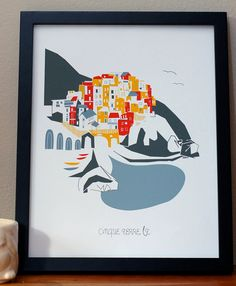 Cinque Terre Italy limited release by albiedesigns on Etsy, $35.00...Cinque Terre, one of my favorite places on Earth.  This is not the image I have in my head, but I do like this print all the same!