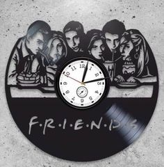 FRIENDS TV Show vinyl record wall clock. Gift ideas for boys, girls, friends. Home decor clock – – – FRIENDS TV Show vinyl record wall clock.