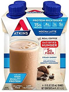 Atkins Gluten Free Protein-Rich Shake, Mocha Latte, Keto Friendly, 44 Fl Oz (Pack of Atkins Protein Shake, Protein Shakes, High Protein, Chocolate Delight, Chocolate Flavors, Keto Snacks, Yummy Snacks, Atkins Shakes, Gram Of Sugar