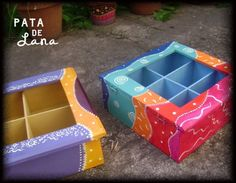 Caja de Te - Cajas - Casa - 515265 Colorful Furniture, Painted Furniture, Boxes And Bows, Sweet Box, Tea Box, Pretty Box, Altered Boxes, Painted Boxes, Projects To Try