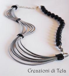 kimoa: Collane lunghe con zip e perle