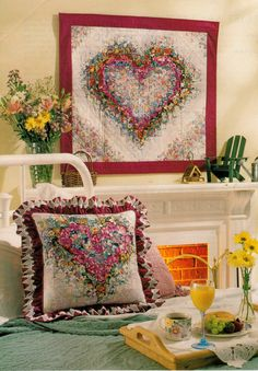 Watercolor Heart  Quilted Wall hanging and Pillow - PDF pattern