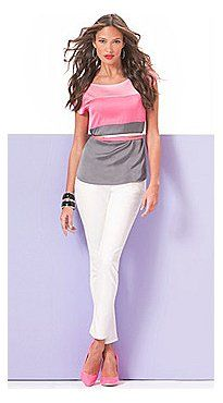 Super cute top...not sure on the pink pumps...would add a silver metallic gladiator sandal instead.  Just my preference.