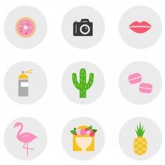 Download this whimsical icon set of flamingos, macarons, cacti, and more! How many of these blogger obsessions are you guilty of?