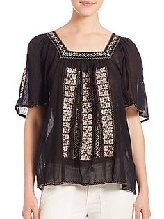 Joie Tahoma Embroidered Cotton Top - Caviar - Brown - Size