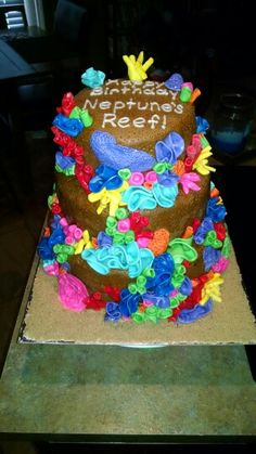 3 tier Coral reef cake