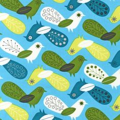 I need this.    Critter Community Fat Quarter Birds in Bermuda by thefabstore, $2.75