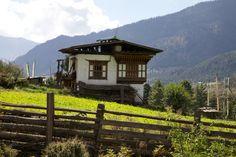 Bhutanese house, Phobjika Valley, Bhutan.