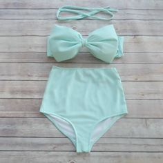 ❤ Bikiniboo Vintage Inspired Handmade High Waist Bow Bikini ❤    ❤ In Beautiful Pale Seafoam Blue ❤    This bikini is everything that swimwear should
