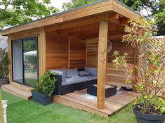 Backyard Guest Houses, Backyard Sheds, Backyard Patio Designs, Backyard Studio, Pool House Shed, Small Pool Houses, Garden Lodge, Garden Cabins, Modern Gazebo