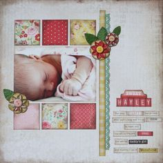 12X12 Baby Scrapbook Layout | Scrapbooking Ideas | Scrapbook Page | Creative Scrapbooker Magazine  #scrapbooking #12X12layout #baby