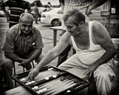 Backgammon - Taxi drivers at Bucharest airport waiting for a fare - Bucharest, Romania